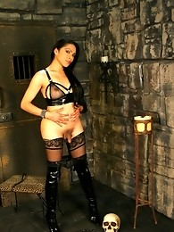 Naughty Melissa Raven having fun in the dungeon