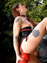 Horny Kimberly riding a fucking huge butt plug