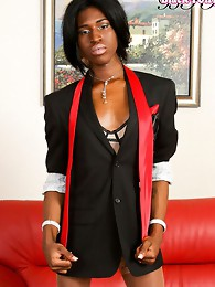 Ebony teen shows off hot tranny body
