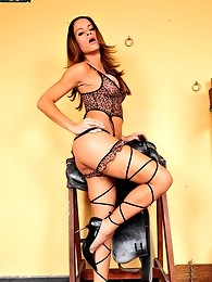 Brazilian tranny Kamila Smith looks absolutely sexy in her leopard print lingerie. Kamila wants a guy who is willing to pull off her garter belt with