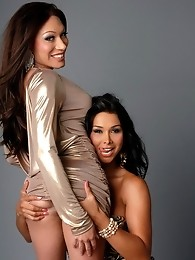 Super hot tgirls Vaniity and Mia blowing each other's juicy cocks