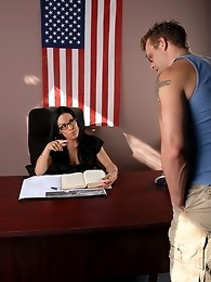 Naughty Foxxy blowing a guy in her office