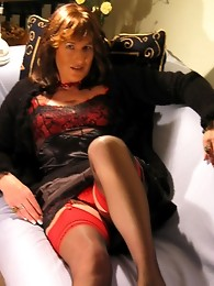 Filthy crossdresser sucking cock and posing in sexy clothes