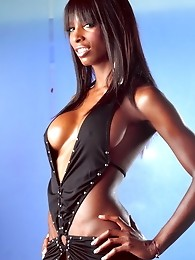 Ebony tgirl Natassia Dreams posing in black sexy dress