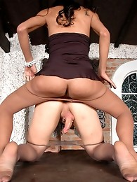 Appalling shemale babes in luxury pantyhose launching into action on table