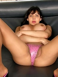 Gorgeous shemale masturbating without putting off her soft silky pantyhose