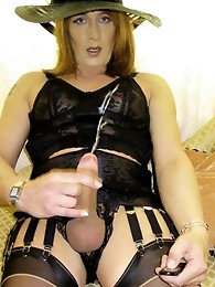 Horny little crossdresser showing off her sexy body in lingerie