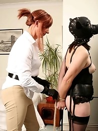 Women in bondage gear gets dominated by Lucimay