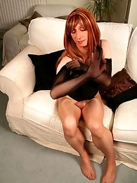 Lucimay plays with her big cock in full length pantyhose