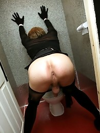 Zoe playing with big cock in some public toilets