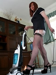 Slutty tranny maid Lucimay cleans her house in nylon stockings