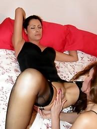 Strapon Jane eats lesbians wet pussy then fucks her