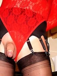 Nylon bitch Yvette wearing black nylon stockings and red lingerie