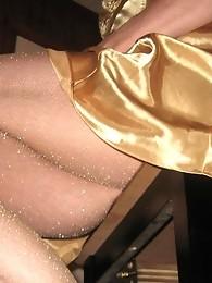 Gold panties make this pantie boy look like a real star