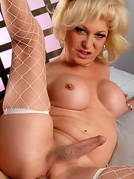 Blonde transsexual hottie Olivia Love getting banged