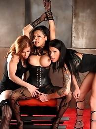 Horny Carmen having oral in a hot TS threesome
