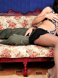 Salacious shemale in elegant control top pantyhose fucking a dude like hell
