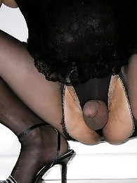 This pantie loving sissy is playing with his dildo too