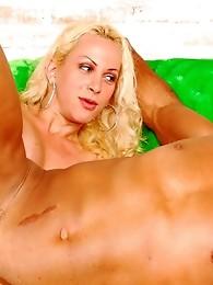 Blonde ladyboy fingering and licking guy�s asshole preparing for hard anal